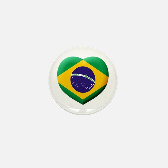 Brazilian Flag in 3D Heart Mini Button