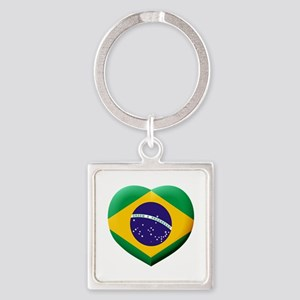 Brazilian Flag in 3D Heart Keychains