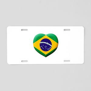 Brazilian Flag in 3D Heart Aluminum License Plate
