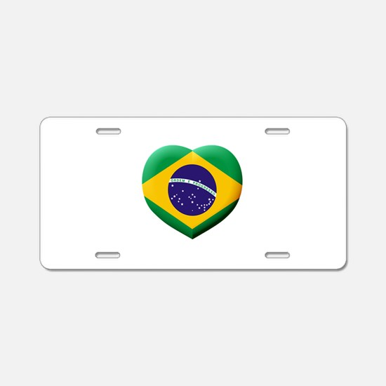 Brazilian Flag in 3D Heart Aluminum License Plate