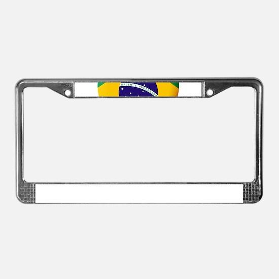 Brazilian Flag in 3D Heart License Plate Frame
