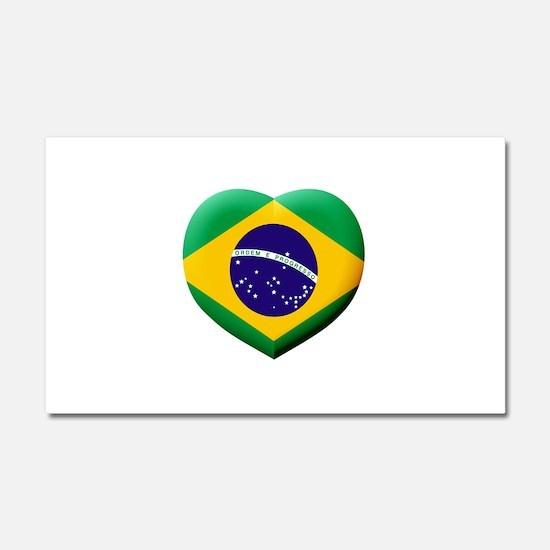 Brazilian Flag in 3D Heart Car Magnet 20 x 12