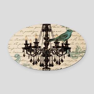 girly chandelier vintage paris Oval Car Magnet