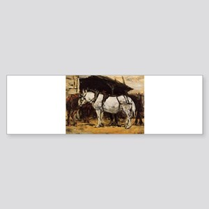 Eugene Boudin - Harnessed Horses Bumper Sticker