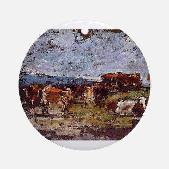 Eugene Boudin - Cows in a Pasture Round Ornament