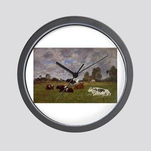 Eugene Boudin - Cows in a Pasture Wall Clock