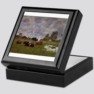 Eugene Boudin - Cows in a Pasture Keepsake Box