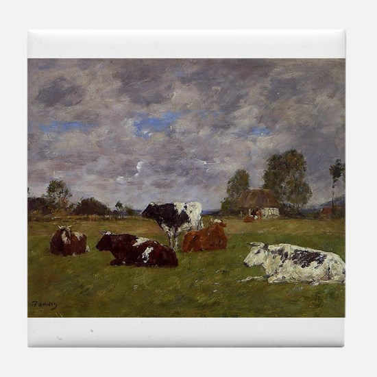 Eugene Boudin - Cows in a Pasture Tile Coaster