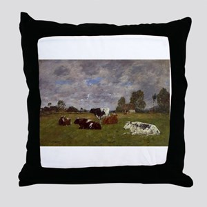 Eugene Boudin - Cows in a Pasture Throw Pillow