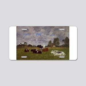 Eugene Boudin - Cows in a P Aluminum License Plate