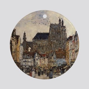 Eugene Boudin - Abbeville, Street a Round Ornament