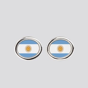 Argentinian pride argentina flag Oval Cufflinks
