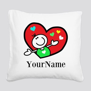 Happy Heart (p) Square Canvas Pillow