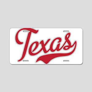 Texas Script Font Red Aluminum License Plate