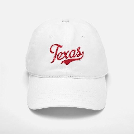 Texas Script Font Vintage Baseball Baseball Baseball Cap