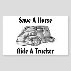 Ride A Trucker Rectangle Sticker