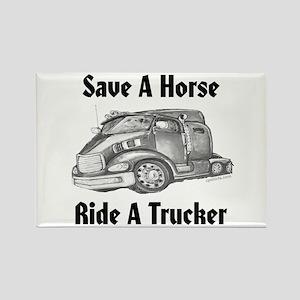 Ride A Trucker Rectangle Magnet