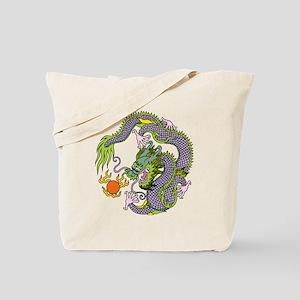 Colorful Chinese Dragon Circle Totem Tote Bag