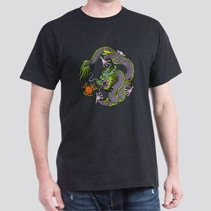 Colorful Chinese Dragon Circle Totem Dark T-Shirt