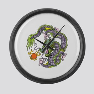 Colorful Chinese Dragon Circle To Large Wall Clock