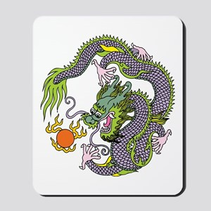 Colorful Chinese Dragon Circle Totem Mousepad