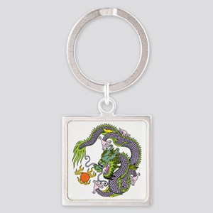 Colorful Chinese Dragon Circle Tot Square Keychain