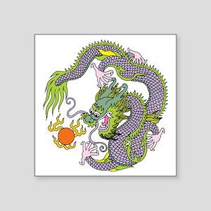 "Colorful Chinese Dragon Cir Square Sticker 3"" x 3"""