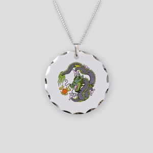 Colorful Chinese Dragon Circ Necklace Circle Charm