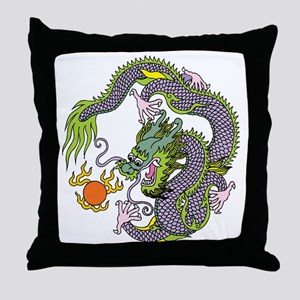 Colorful Chinese Dragon Circle Totem Throw Pillow