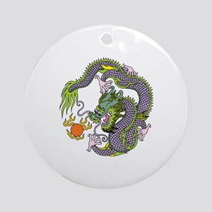 Colorful Chinese Dragon Circle Tote Round Ornament