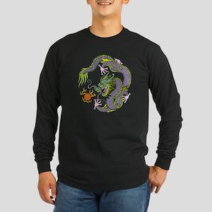 Colorful Chinese Dragon C Long Sleeve Dark T-Shirt