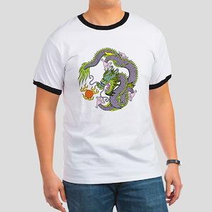 Colorful Chinese Dragon Circle Totem Ringer T