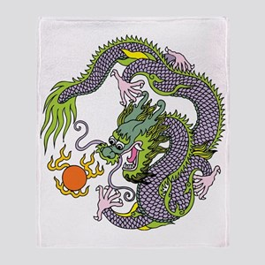 Colorful Chinese Dragon Circle Totem Throw Blanket