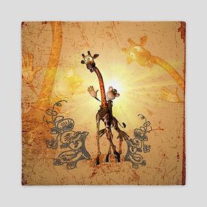 Funny giraffe and monkey Queen Duvet