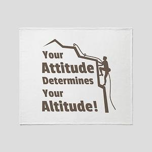 Rock Climbing Attitude Altitude Quote Throw Blanke