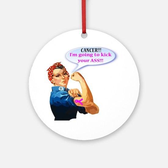 Rosie Fighting Cancer Design Round Ornament