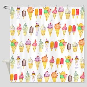 Watercolour Ice Cream, Shower Curtain