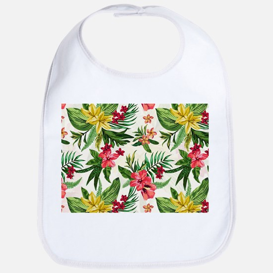 Colorful Exotic Hawaiian Flowers Bib
