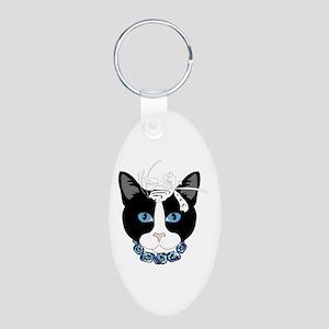 Cat Aluminum Oval Keychain