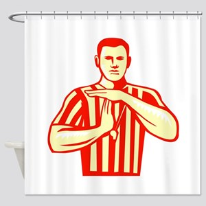 Basketball Referee Technical Foul Retro Shower Cur