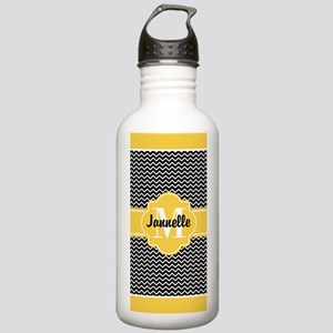 Black and White Chevro Stainless Water Bottle 1.0L