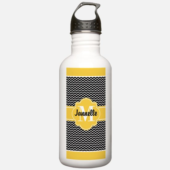 Black and White Chevro Water Bottle