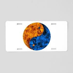 Blue Orange Fire Yin Yang Aluminum License Plate