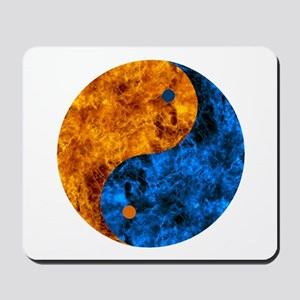 Blue Orange Fire Yin Yang Mousepad