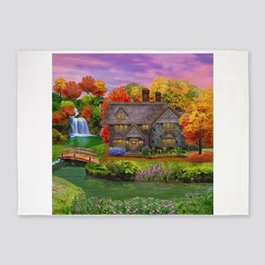 England Countryside Autumn 5'x7'Area Rug