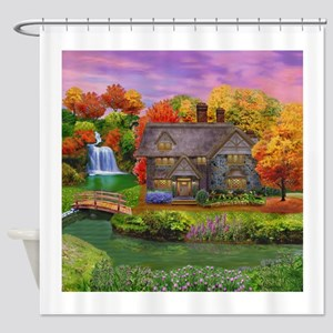 England Countryside Autumn Shower Curtain