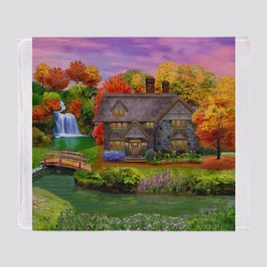England Countryside Autumn Throw Blanket