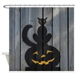 Halloween Black Cat Jackolantern Shower Curtain
