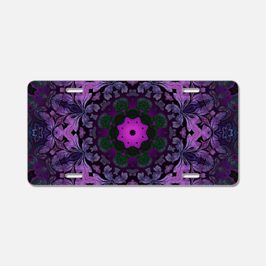 Gothic vintage purple abstr Aluminum License Plate