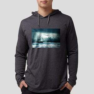 Blue Ocean Ship Storm Clouds Long Sleeve T-Shirt
